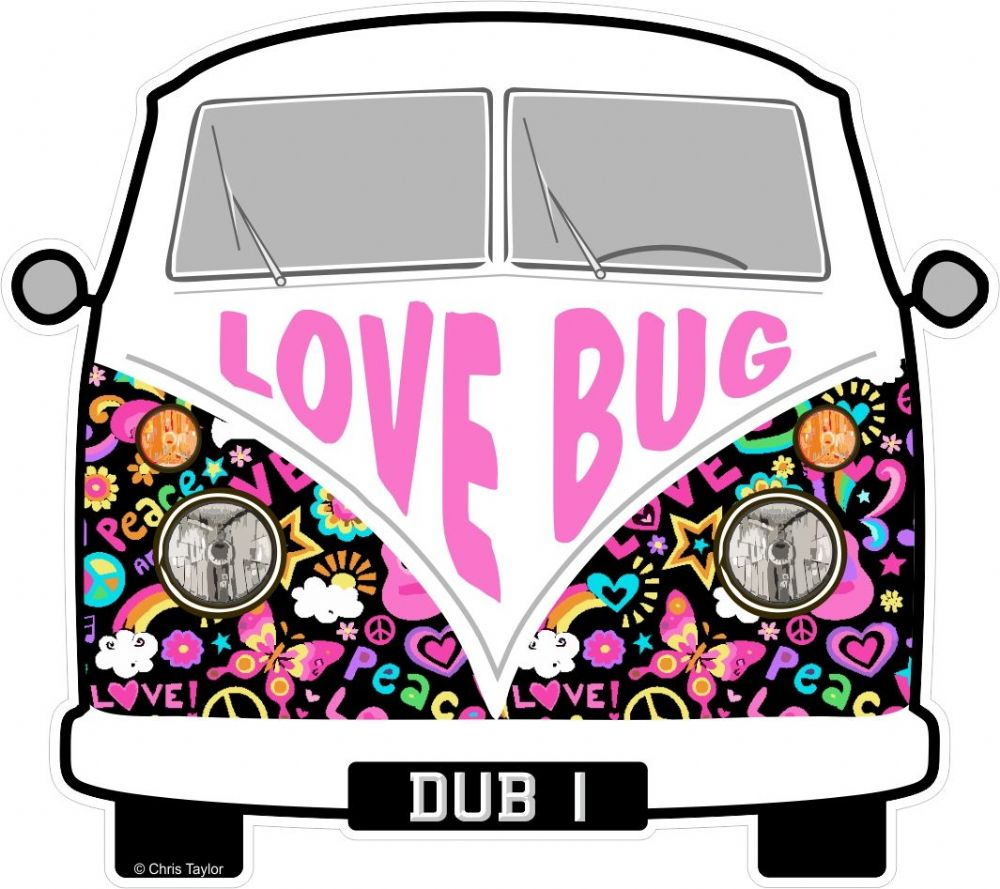 medium resolution of love bug hippy slogan for retro split screen vw camper van bus design external vinyl car sticker 90x80mm